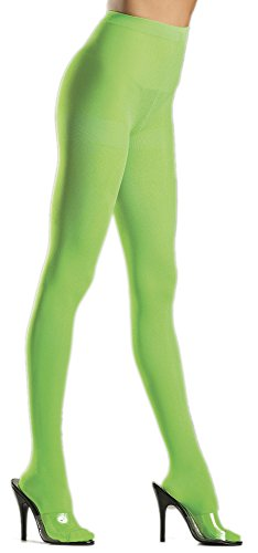Disgust Costume Women (Women's Solid Lime Green Opaque Nylon Pantyhose Costume Tights Disgust Costume Tights)
