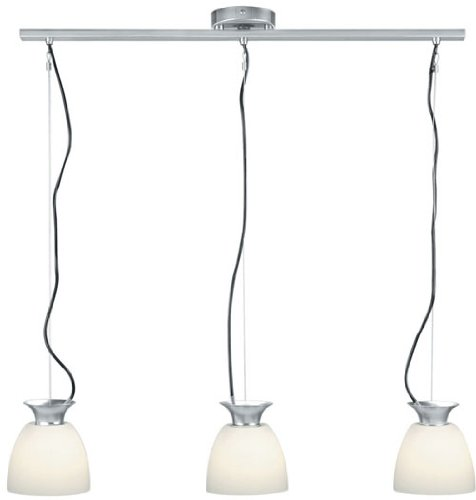 Lite Source LS-14423PS/FRO Herman 3-Lite Pendant Lamp, Polished Steel with Frosted Glass Shade (3 Lamp Collection Light Pendant)