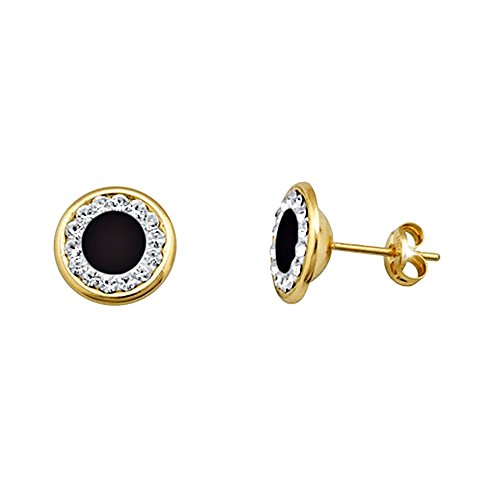 Boucled'oreille 18k or bord 9mm lisse. centre zircons onyx [AA5611]