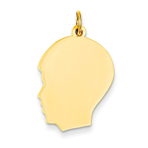 Diamond Boys Head Charm - 14k Yellow Gold Plain Medium .013 Gauge Facing Left Engravable Boy Head Charm