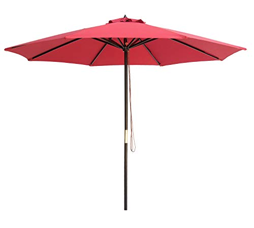 SUNBRANO 9 Ft Wood Frame Patio Umbrella Outdoor Garden Cafe Market Table Umbrella Pulley Lift with Air Vent, 8 Ribs, Red