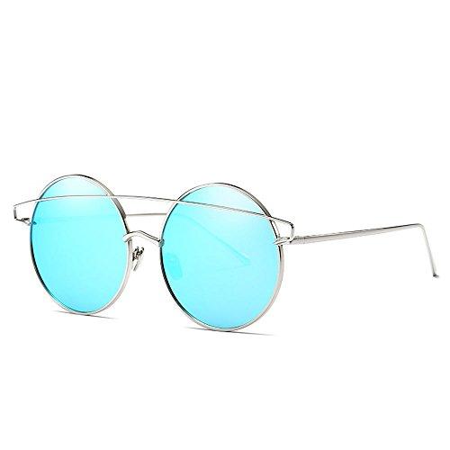 Sol Gafas B Moda Gafas reflexivas Metal Sol Coloridas para Gafas Gafas de de Marco Reflectante Colorida Película para Sol de Retro E de Hombre Color wzfg0qwx