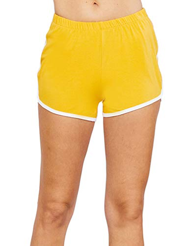 Contrasting Waistband - Women's Elastic Waistband Contrasting Binding Dolphin Shorts (Large, Mustard)