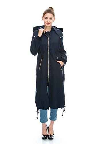 Daisy Women's Zipper Pocket Detail Hooded Long Waterproof Jacket. (M, NAVY)