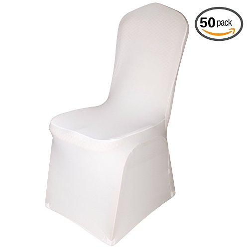 Emart Set of 50pcs Ivory Color Polyester Spandex Banquet Wedding Party Chair Covers