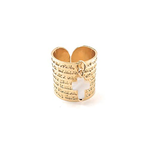 Adjustable 24K Gold Plated Our Father Prayer Spanish Ring Band Anillo Padre Nuestro