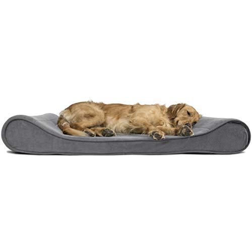 FurHaven Pet Dog Bed | Memory Foam Microvelvet Luxe Lounger Pet Bed for Dogs & Cats, Gray, Jumbo