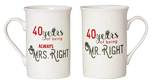 Designer 40th Anniversary Mr Right & Mrs Always Right Mug Gift Set by Happy Homewares