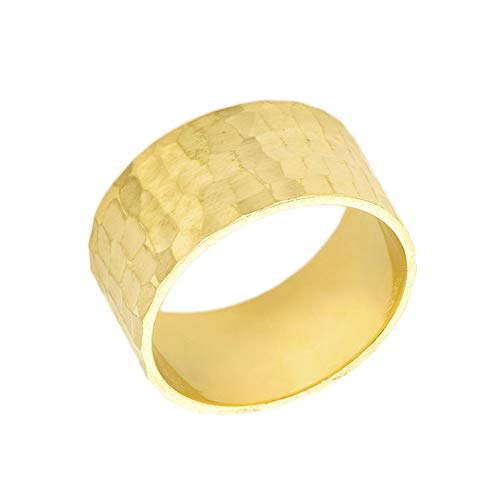 Men's Fine 10mm Hammered Wedding Band in Solid 10k Yellow Gold (Size 5.5)
