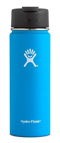 Hydro Flask 20 oz Travel Coffee Flask | Stainless Steel & Vacuum Insulated | Wide Mouth with Hydro Flip Cap | Pacific