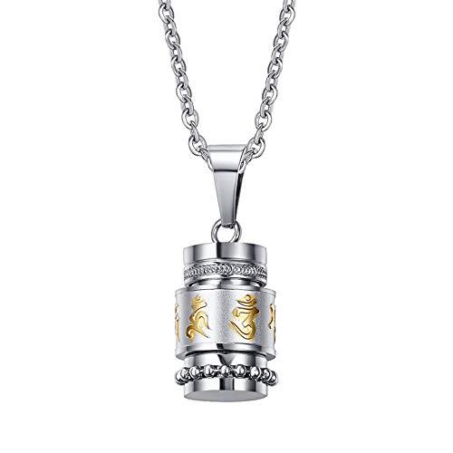 PAMTIER Unisex Stainless Steel Om Mani Padme Hum Mantra Spinner Necklace Wheel Bottle Urn -