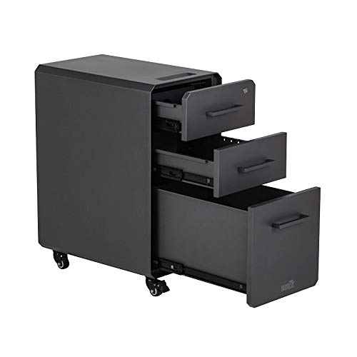 VARIDESK Slim FileCabinet for Office Storage with Three Drawers, Charcoal-Grey