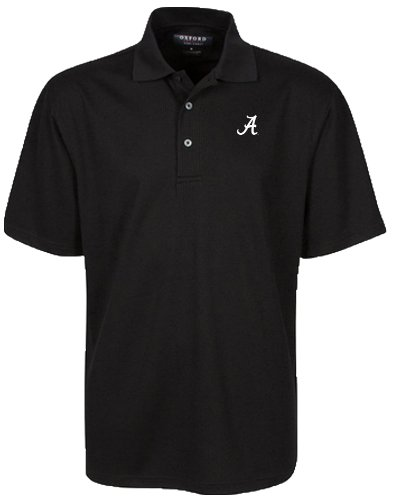 Ncaa Alabama Crimson Tide Pattern (Oxford NCAA Alabama Crimson Tide Men's Y/D Veri Cool Tonal Jacquard Pattern with Wicking, Large, Black)