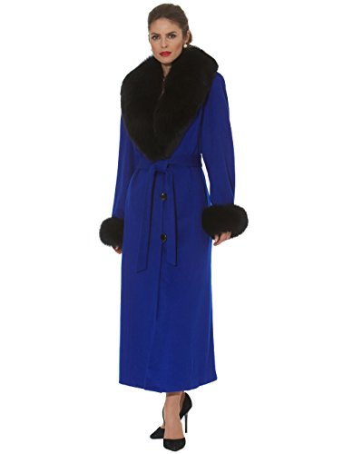Madison Avenue malls Royal Blue Full Length Cashmere Coat Black Fox Fur Collar - Mall Madison