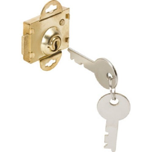 "(2-pack) HRP Short Throw Mailbox Lock 1/4"" Throw - Brass Plated - Flat Style 2 Keys Included 880550"