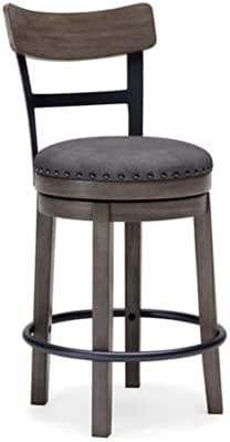 Signature Design by Ashley Caitbrook Modern Farmhouse Antiqued Counter Height Upholstered Swivel Barstool, Single, Gray