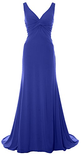 MACloth Women Mermaid V Neck Jersey Evening Gown Cowl Back 2017 Long Prom Dress Azul Real