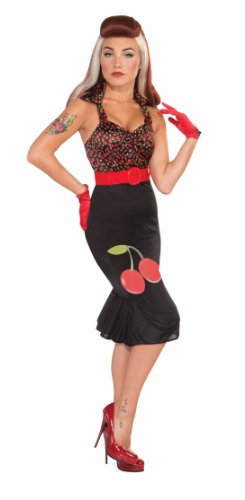 Cherry Anne Adult Costumes (Forum Retro Rock Cherry Anne Costume Dress, Black/Red, Small/X-Small)