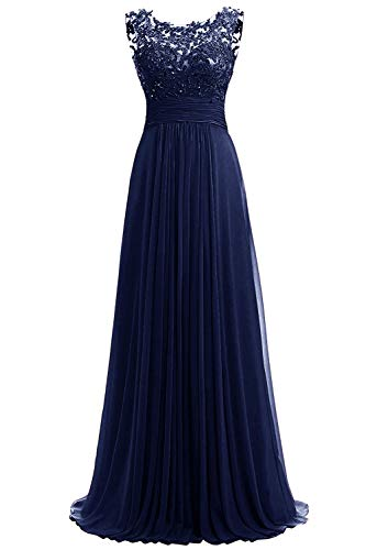 JINGDRESS Women Beaded Sparkly Bridesmaid Dresses Sleeveless Chiffon Long Evening Cocktail Dresses with Pleats Navy Blue