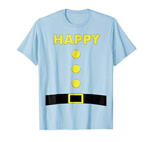 Happy Dwarf T-Shirt Halloween Costume Blue Party Shirt ()