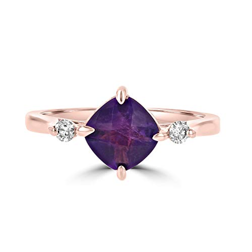 Eleganti Natural Amethyst Ring in 14K Rose Gold with Certified Diamonds - February Birthstone - Size 7 ()