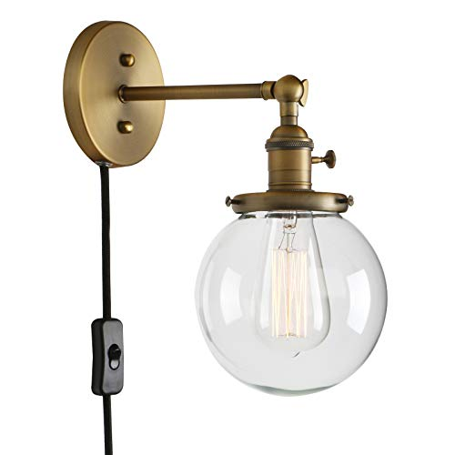 - Permo 1-Light Plug in On/Off Switch Wall Sconce with Mini 5.9