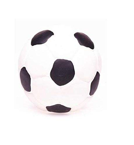 Large Rubber/Latex Soccer Ball Dog Toy 5 inches, Lead-Free & Chemical-Free. Complies to Same Safety Standards as Children's Toys. Soft & Squeaky. Great for Large Dogs. -