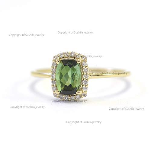 Genuine Green Tourmaline Wedding Ring Solid 14K Yellow Gold Diamond Ring Handmade Jewelry Gift