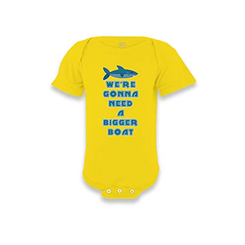 We're Gonna Need A Bigger Boat Short Sleeve Envelope Neck Boys-Girls Cotton Baby Bodysuit One Piece - Yellow Zest, 18 Months