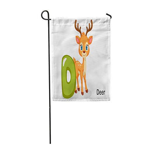 Semtomn Garden Flag Colorful ABC D for Deer Cute Alphabet Animal Beautiful 12