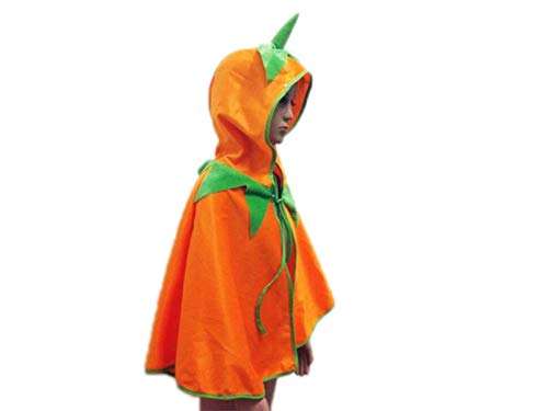 Yuchoi Funny Creative Pumpkin Hooded Cloak Children Costumes for Halloween Christmas Party (Yellow)