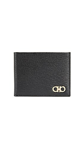 Salvatore Ferragamo Men's Revival Bifold Wallet, Black/Gold, One Size