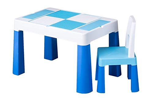 TegaBaby Kindertisch mit Kinderstuhl Farbenfroh und mit Ablagefach Fläche zum Malen Für den Garten oder Zuhause Rosa Blau