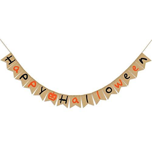 Happy Halloween Burlap Banner| Natural Burlap Halloween Banner | Rustic Halloween