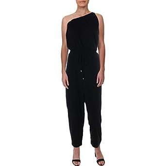 RALPH LAUREN Womens Black One Shoulder Asymmetrical Neckline Jumpsuit US Size: L