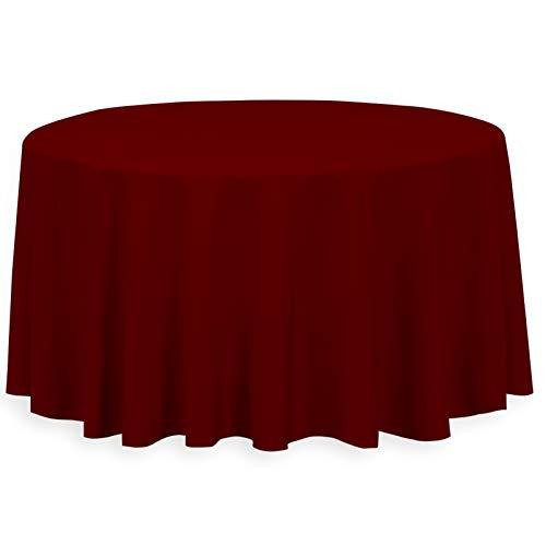 Burgundy Elegance Round Tablecloth - LinenTablecloth 120-Inch Round Polyester Tablecloth Burgundy