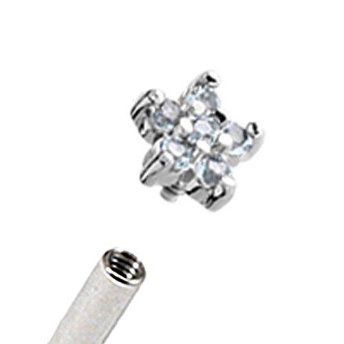 Micro-Dermal Anchor Attachment. Transparent fleurs strass en acier chirurgical Motif uniquement pour une utilisation en intérieur (Micro-Dermal Anchors. Diamètre Max.: 5,8 mm