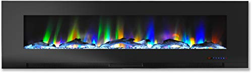 Cheap Cambridge CAM60WMEF-2BLK 60 In. Wall-Mount Electric Fireplace in Black with Multi-Color Flames and Driftwood Log Display Black Friday & Cyber Monday 2019
