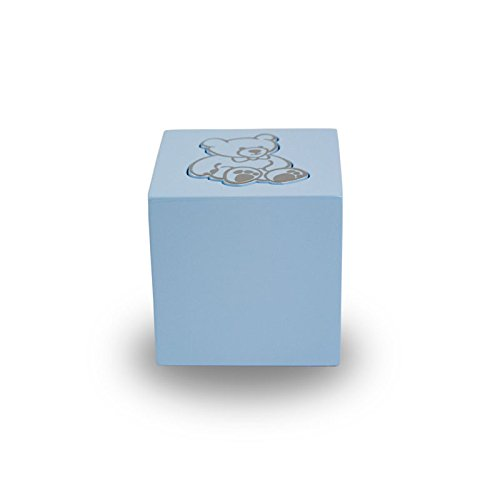 OneWorld Memorials Teddy Bear Infant Wood Cremation Urn - Extra Small - Holds Up to 20 Cubic Inches of Ashes - Baby Blue - Engraving Sold Separately
