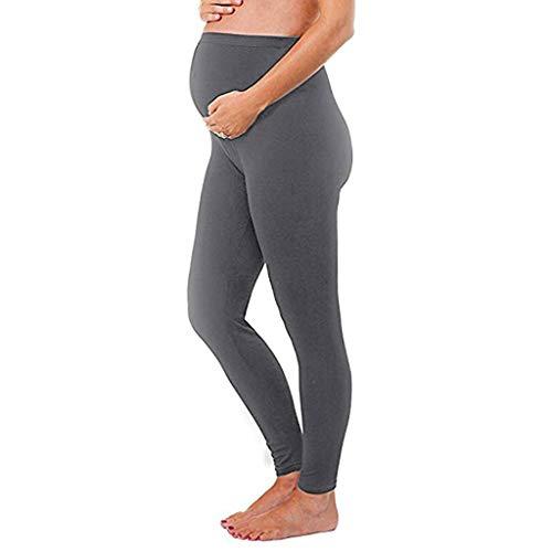 Adagod Women's Maternity Leggings Seamless Solid Pants Stretch Pregnancy Trousers Dark ()
