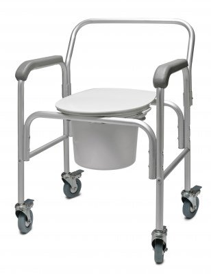 GF Health 2215B-2 3-in-1 Aluminum Commode with Back Bar and Casters (Pack of 2)