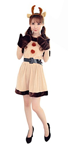 YFFaye Women's Apricot Cartoon Play Costume Warm Hooded Animals Santa Suit Costume ()