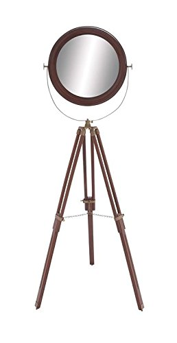 Deco 79 Wood Round Floor Mirror, 25 by 65-Inch - Color: brown Finish: textured, mirror Theme: New Traditional - mirrors-bedroom-decor, bedroom-decor, bedroom - 31a1AWIk1QL -
