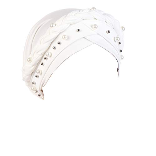 - Unisex Summer Elastic Pearl Muslim Headwrap Cap Breathable Foldable Hair Lose Cancer Sunshade Visor Sunhat Cap (White)