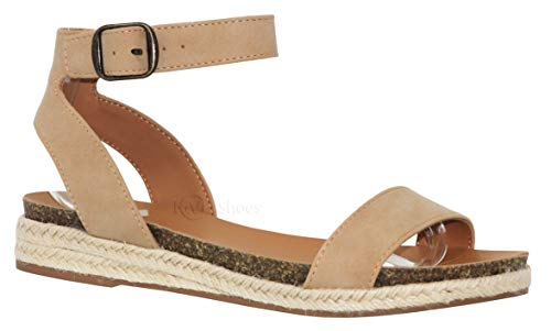 (MVE Shoes Women's Open Toe Ankle Strap Thick Platform- Cute Comfort Sandals, Tacoma NAT nbpu)