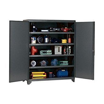 Edsal EHD7860 Industrial Gray 14 Gauge Steel Storage Cabinet, 4 Adjustable Shelves, 1500 lb. Capacity, 78