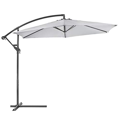 XtremepowerUS Deluxe 10 Offset Patio Umbrella Off Set Outdoor Market Umbrella Grey