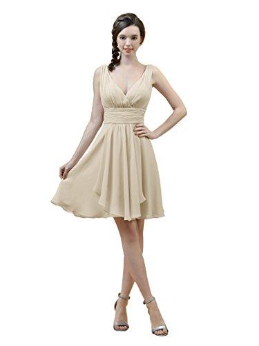 Alicepub V-neck A-Line Bridesmaid Dress Short Chiffon Cocktail Evening Party Dress