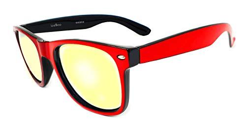dos Gafas New Wayfarer de Classic Unisex Lentes Espejo sol Retro Vintage Negro de UV400 tonos 4nFXrnx