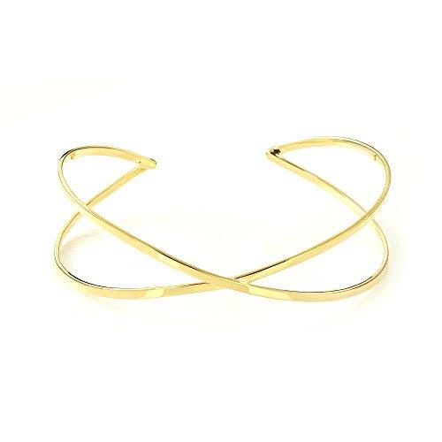 Mgd, 26mm de large Croix Fil Bras Brassard réglable haut du bras Bracelet, Doré Laiton, taille unique, bijoux tendance pour femme, Je-0198m